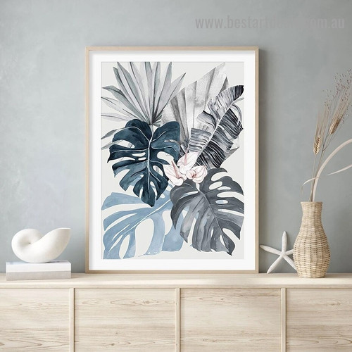 Tropical Leaves Botanical Watercolor Framed Portrait Painting Canvas Print for Room Wall Decoration