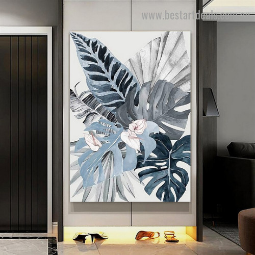 Floral Plant Leafs Botanical Watercolor Framed Artwork Picture Canvas Print for Room Wall Flourish