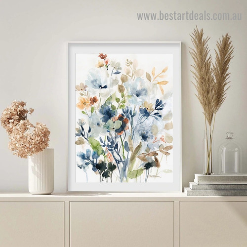 Colorful Flowers Botanical Watercolor Framed Portrait Painting Canvas Print for Room Wall Spruce