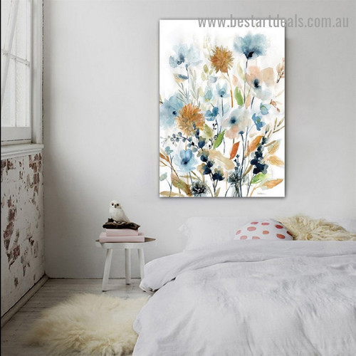Mix Flowers Leaves Botanical Watercolor Framed Artwork Image Canvas Print for Room Wall Garnish