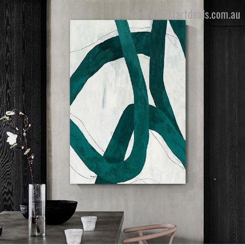 Rambling Bold Lines Abstract Modern Framed Portrait Picture Canvas Print for Room Wall Drape