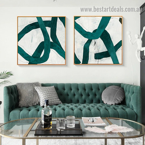 Zigzag Stripes Abstract Modern Framed Portrait Picture Canvas Print for Room Wall Ornament