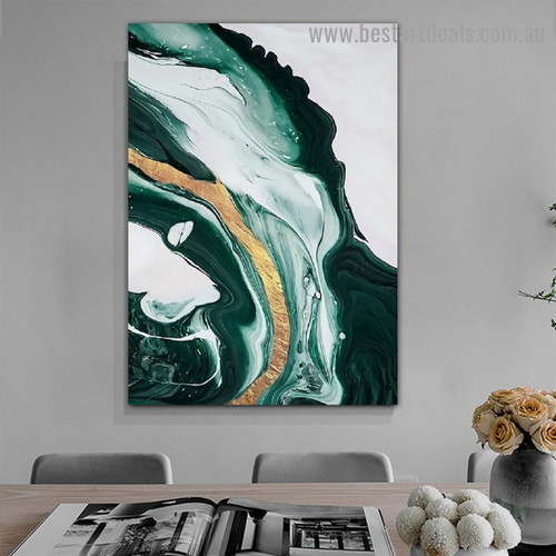 Green Golden Marble Abstract Modern Framed Artwork Image Canvas Print for Room Wall Spruce