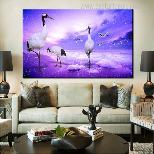 Red-Crowned Crane Seascape Birds Modern Painting Print for Home Wall Embellishment