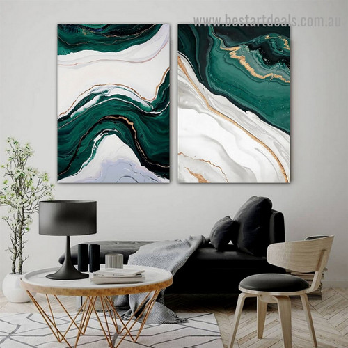 Ripply Stroke Design Abstract Modern Framed Portrait Picture Canvas Print for Room Wall Flourish
