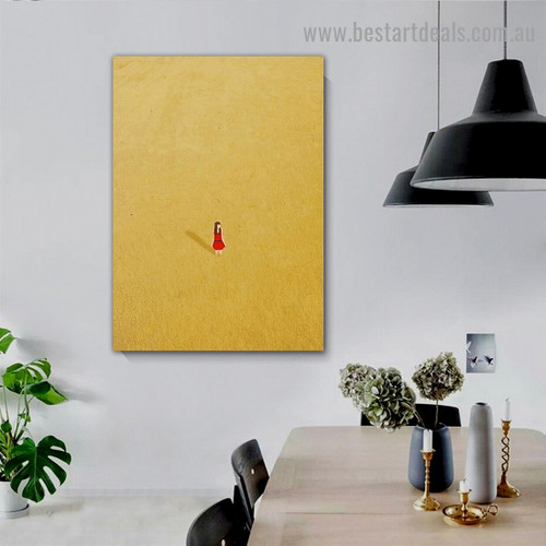 Alone Girl in Wheat Field Figure Minimalist Modern Framed Portrait Painting Canvas Print for Room Wall Adornment