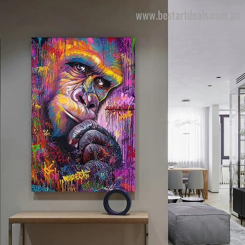 Colorful Chimpanzee Animal Graffiti Framed Artwork Photo Canvas Print for Room Wall Garniture