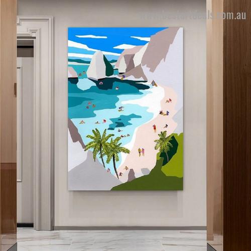 Sea Hills Architecture Illustration Modern Framed Portrait Image Canvas Print for Room Wall Decor