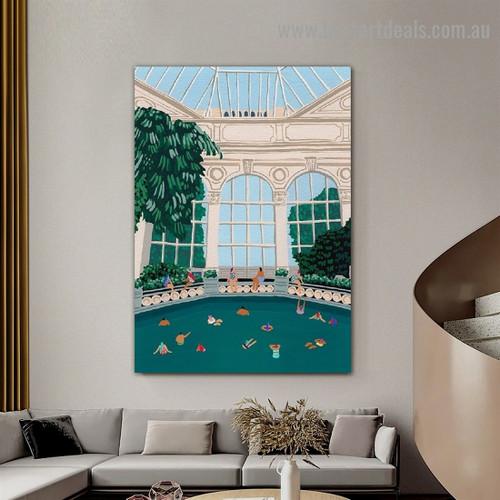 Swimming Pool inside Architecture Illustration Modern Framed Portrait Artwork Canvas Print for Room Wall Garniture