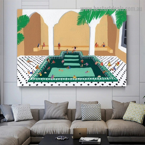 Sitting Human Architecture Illustration Modern Framed Artwork Photo Canvas Print for Room Wall Spruce