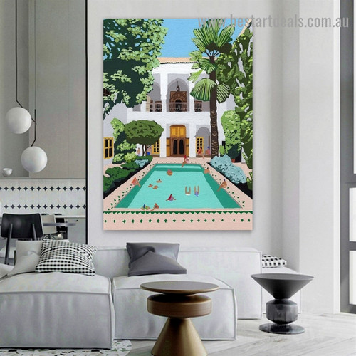 Bathing Peoples Architecture Illustration Modern Framed Portrait Picture Canvas Print for Room Wall Adornment