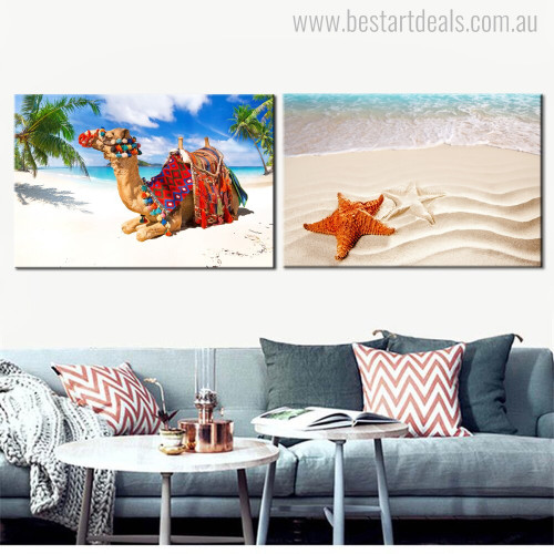 Star Camel Contemporary Animal Beach Painting Portrait Print for Living Room Wall Outfit