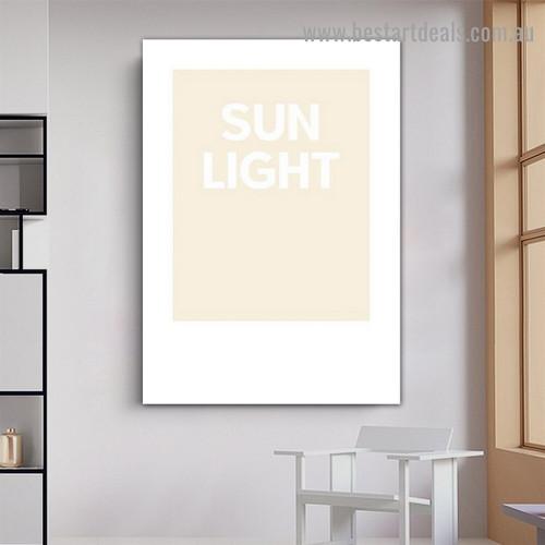 Sun Light Typography Scandinavian Framed Artwork Portrait Canvas Print for Room Wall Garniture
