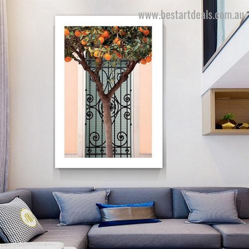 Orange Tree Botanical Scandinavian Framed Artwork Picture Canvas Print for Room Wall Ornament