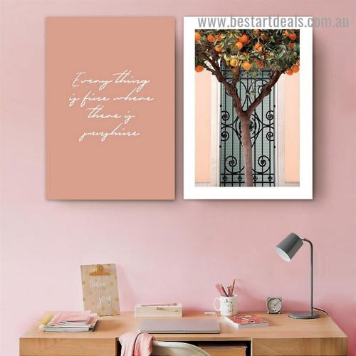Black Gate Botanical Typography Scandinavian Framed Artwork Image Canvas Print for Room Wall Ornament