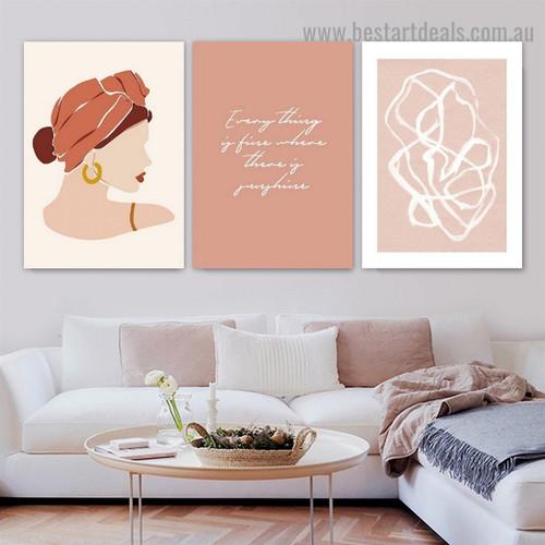 Gold Earrings Abstract Figure Scandinavian Framed Portrait Image Canvas Print for Room Wall Drape