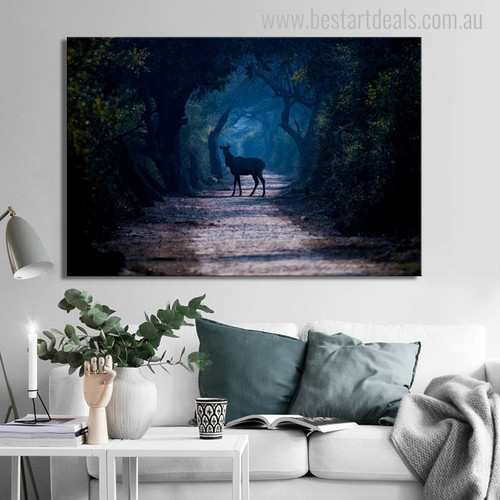 Wild Deer Modern Animal Painting Image Print for Living Room Wall Outfit