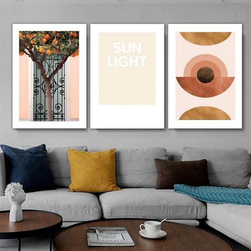Sun Light Abstract Botanical Typography Scandinavian Framed Artwork Portrait Canvas Print for Room Wall Garniture