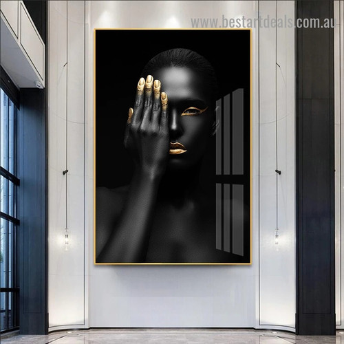 Dark Skinned Woman Fashion Figure Modern Framed Artwork Image Canvas Print for Room Wall Adornment