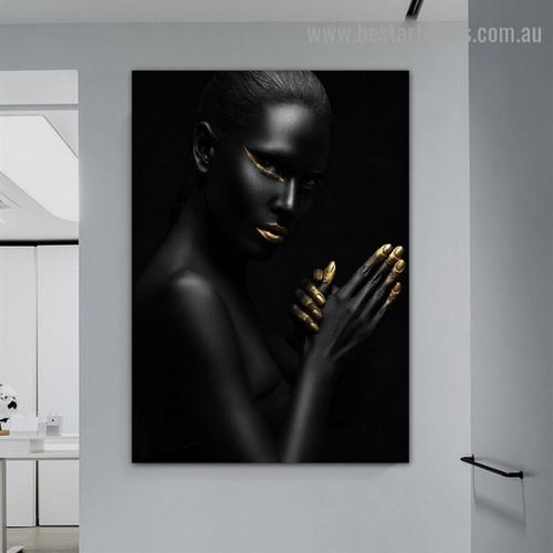 Black Woman Portrait Fashion Figure Modern Framed Portrait Picture Canvas Print for Room Wall Ornament