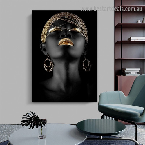Beautiful African Woman Fashion Figure Modern Framed Artwork Photo Canvas Print for Room Wall Adornment