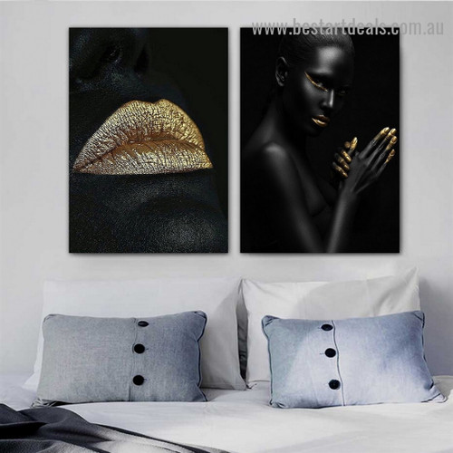 Auric Lips Fashion Figure Modern Framed Artwork Painting Canvas Print for Room Wall Adorn