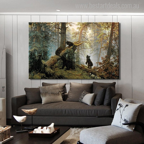Black Bears Contemporary Animal Wildlife Painting Photo Canvas Print for Living Room Wall Getup