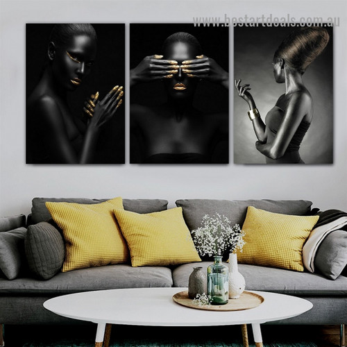 Closed Eyes Women Fashion Figure Modern Framed Artwork Picture Canvas Print for Room Wall Spruce
