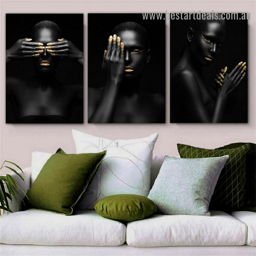 Repousse Finger Tips Fashion Figure Modern Framed Portrait Painting Canvas Print for Room Wall Decoration