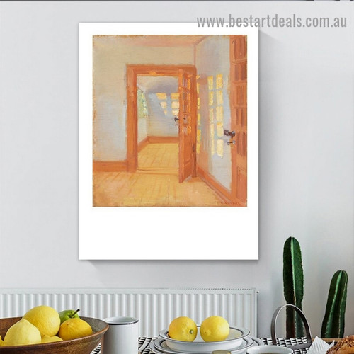 House Interior Anna Ancher Architecture Impressionism Reproduction Artwork Portrait Canvas Print for Room Wall Adornment