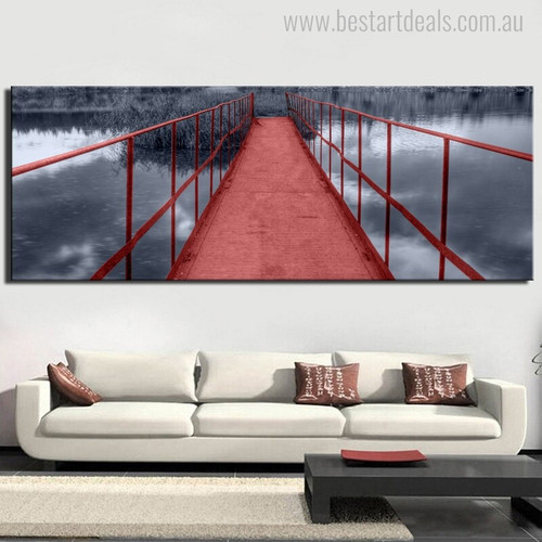 Iron Bridge Modern Nature Landscape Portraiture Picture Print for Living Room Wall Getup
