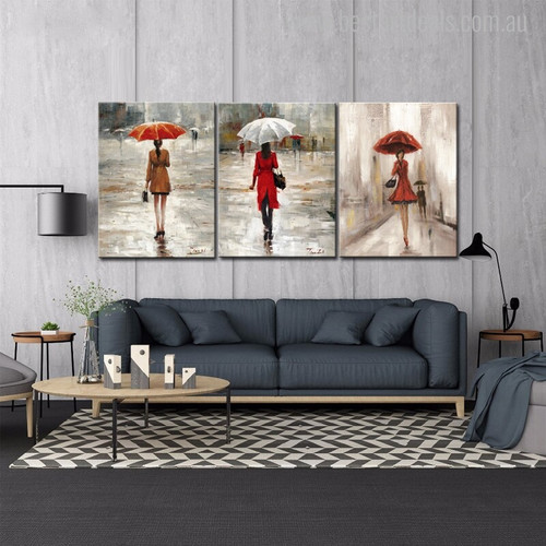 The Umbrella Girls Abstract Modern Watercolor Figure Canvas Artwork Print for Living Room Wall Ornament