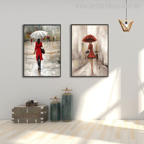 The Parasols Colleens Abstract Modern Watercolor Figure Painting Picture Print for for Room Wall Outfit