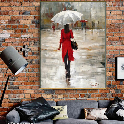 White Parasol Girl Contemporary Abstract Figure Watercolor Painting Portrait Canvas Print for Living Room Wall Finery