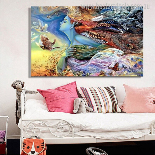Dreamlike Girl Animal Botanical Abstract Modern Figure Painting Picture Print for Living Room Wall Tracery