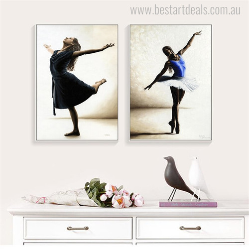 Ballerina Dancers Modern Figure Portrait Canvas Print for Wall Molding