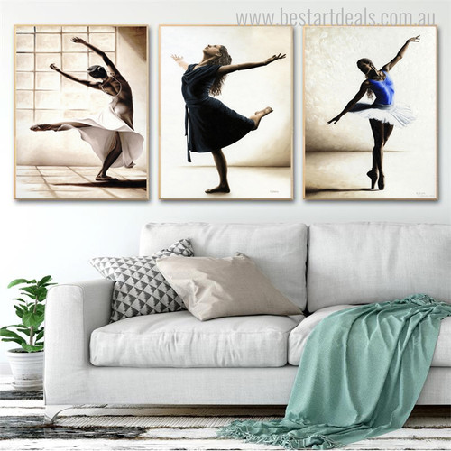 Three Ballerina Dancers Modern Figure Portrait Canvas Print for Wall Assortment