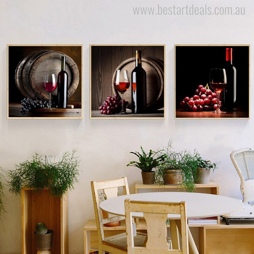 Fruit Wine Modern Food and Beverage Picture Print for Dining Room Wall Getup