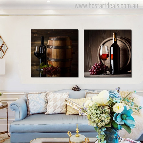 Wine Barrel Contemporary Food and Beverage Picture Canvas Print for Room Wall Drape