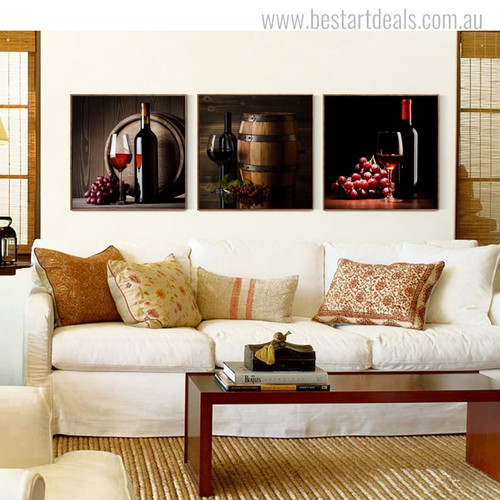 Wine Bottles Modern Food and Beverage Picture Print for Living Room Wall Drape