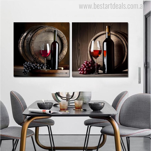 Black Wine Bottles Contemporary Food and Beverage Painting Canvas Print for Dining Room Wall Adornment