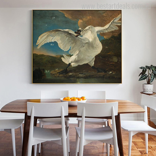 Threatened Swan Vintage Bird Mix Artists Painting Canvas Print for Dining Room Wall Drape