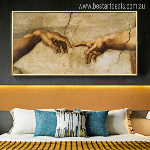 Touch of God Renaissance Mix Artists Painting Portrait Canvas Print for Bedroom Wall Getup