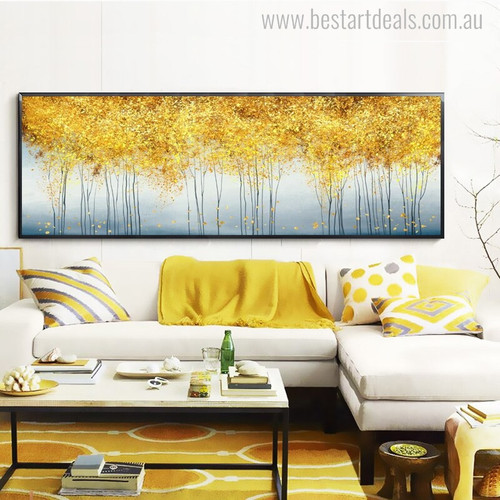Golden Money Trees Abstract Modern Panoramic Picture Print for Living Room Wall Outfit