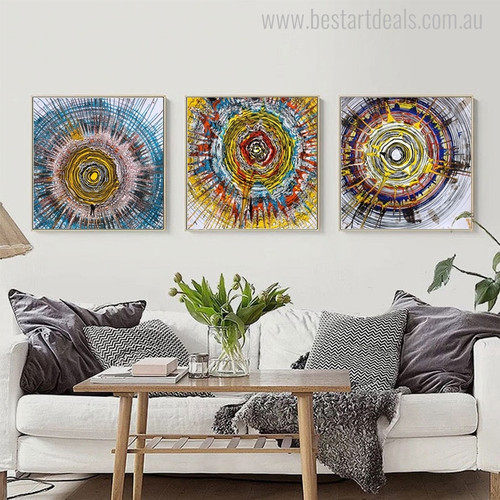 Annual Ring Abstract Watercolor Painting Canvas Print for Room Wall Getup