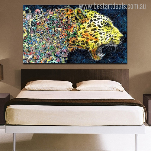Fierce Leopard Abstract Watercolor Animal Painting Canvas Print for Bedroom Wall Decor