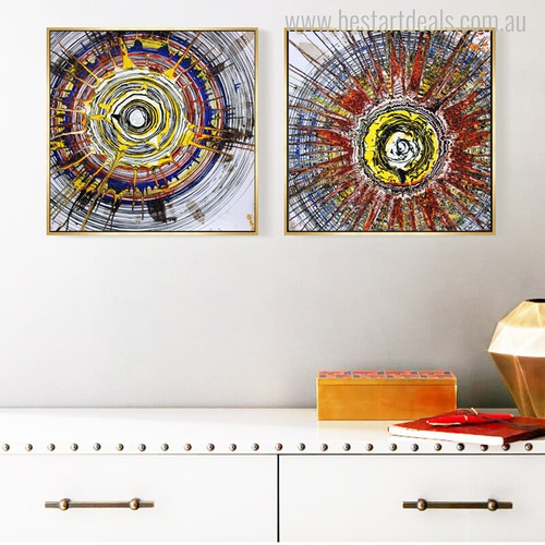 Circular Effect Abstract Watercolor Canvas Artwork Image Print for Room Wall Finery