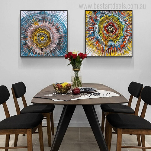 Annual Rings Abstract Watercolor Vignette Canvas Print for Dining Room Wall Ornament