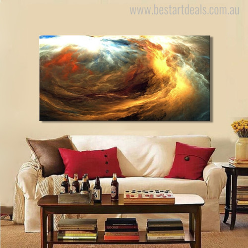 Colorific Clouds Modern Abstract Canvas Artwork Portrait Print for Living Room Wall Drape