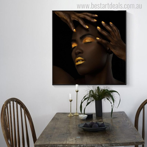 Black Lady Modern Figure Painting Canvas Print for Dining Room Wall Tracery